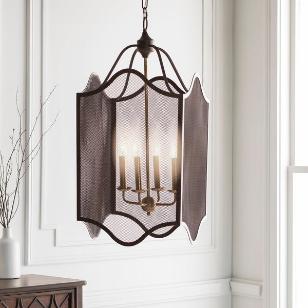 "Caleigh Transitional Bronze 32"" Lantern Lighting Fixture"