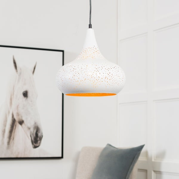 "Boadicea Modern White 11.75"" Pendant Lighting Fixture"