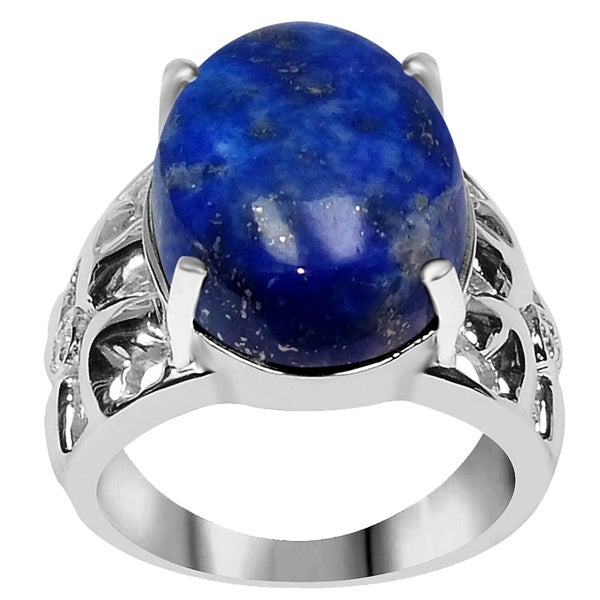 925 Sterling Silver 13.80 Carat Genuine Lapis Lazuli Oval Cabochon Ring