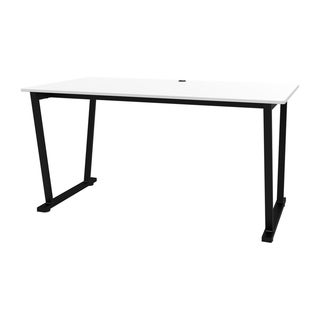 Offex Fixed Height Collaboration Office Desk Table with White Surface and Black Frame