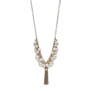 Eternally Haute Gold Plated Tassel & Pearl Necklace