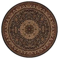 "Concord Global Persian Classics Iris Black Round Rug - 5'3"" x 5'3"""