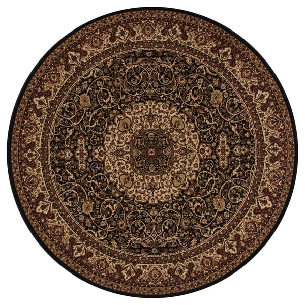 "Concord Global Persian Classics Iris Black Round Rug - 7'10"" x 7'10"""