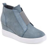 Journee Collection Women's 'Clara' Athleisure Laser-cut Sneaker Wedges