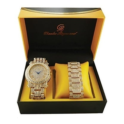 Rapper's Ice'd Out Watch and Matching Bracelet Mens Hip Hop Bling Bling Gold Tone Simulated Diamond Watch & Bracelet Gift Set