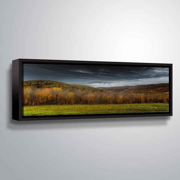 ArtWall Richard James 'Kent Hills' Gallery Wrapped Floater-framed Canvas - Green