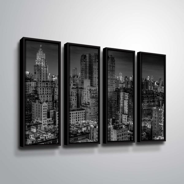 ArtWall Richard James 'UWS at Dusk' 4 Piece Floater Framed Canvas Set