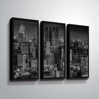 ArtWall Richard James 'UWS at Dusk' 3 Piece Floater Framed Canvas Set