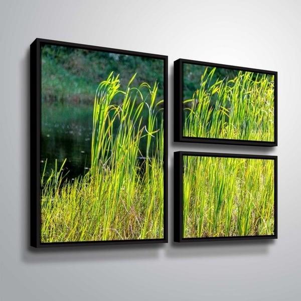 ArtWall Richard James 'Grasses' 3 Piece Floater Framed Canvas Flag Set
