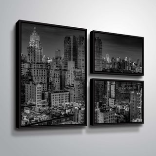 ArtWall Richard James 'UWS at Dusk' 3 Piece Floater Framed Canvas Flag Set
