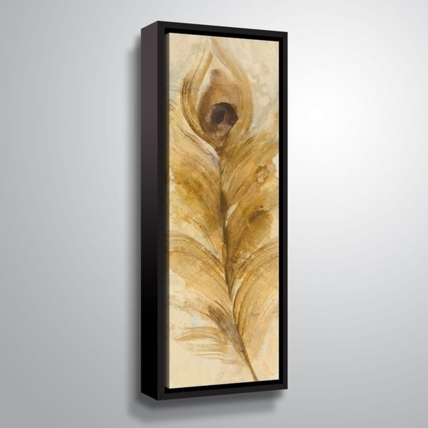 ArtWall Albena Hristova 'Feather Toss-Single' Gallery Wrapped Floater-framed Canvas - Brown