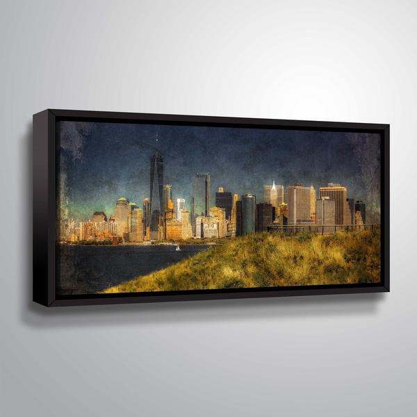ArtWall Richard James 'Lw Manhattan Gold Arty' Gallery Wrapped Floater-framed Canvas - Blue