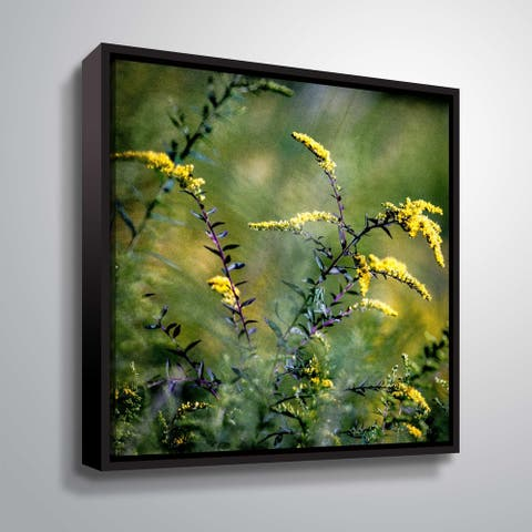 ArtWall Richard James 'Yellow Flowers Purple Stems' Gallery Wrapped Floater-framed Canvas - Green
