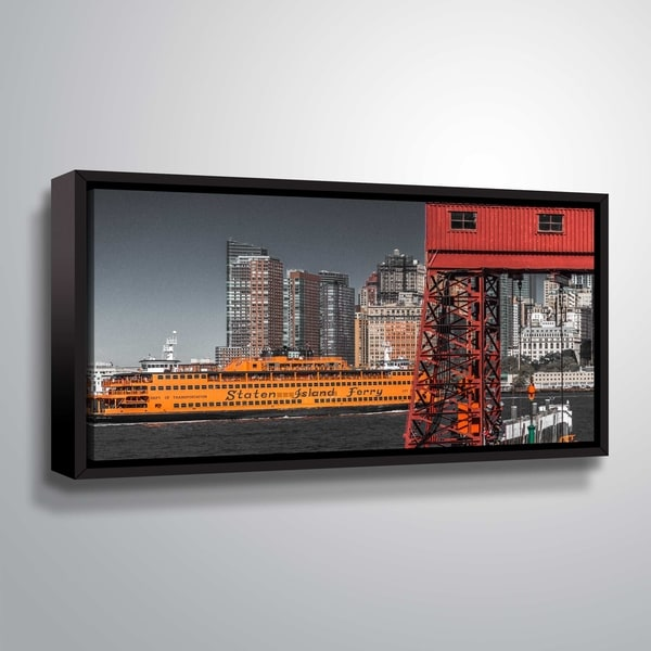 ArtWall Richard James 'Ferry & Gangway' Gallery Wrapped Floater-framed Canvas - Grey