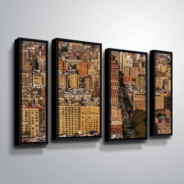 ArtWall Richard James 'Upper West Side' 4 Piece Floater Framed Canvas Staggered Set - 24 x 36