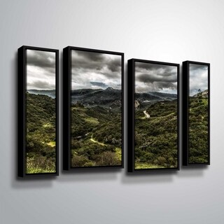 ArtWall Richard James 'Topanga III' 4 Piece Floater Framed Canvas Staggered Set - 24 x 36