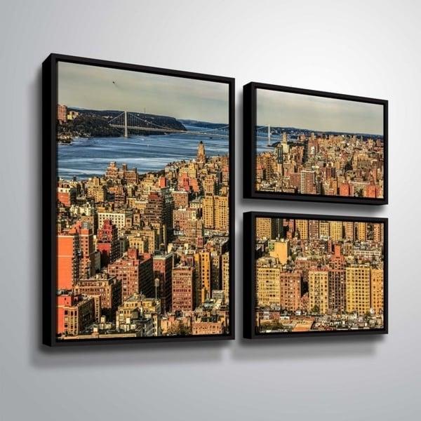 ArtWall Richard James 'UWS Hudson River' 3 Piece Floater Framed Canvas Flag Set