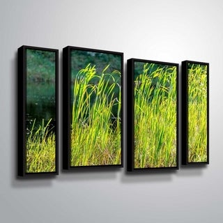 ArtWall Richard James 'Grasses' 4 Piece Floater Framed Canvas Staggered Set - 24 x 36