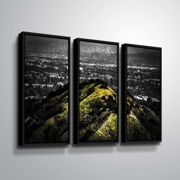 ArtWall Richard James 'Mulholland Hill' 3 Piece Floater Framed Canvas Set