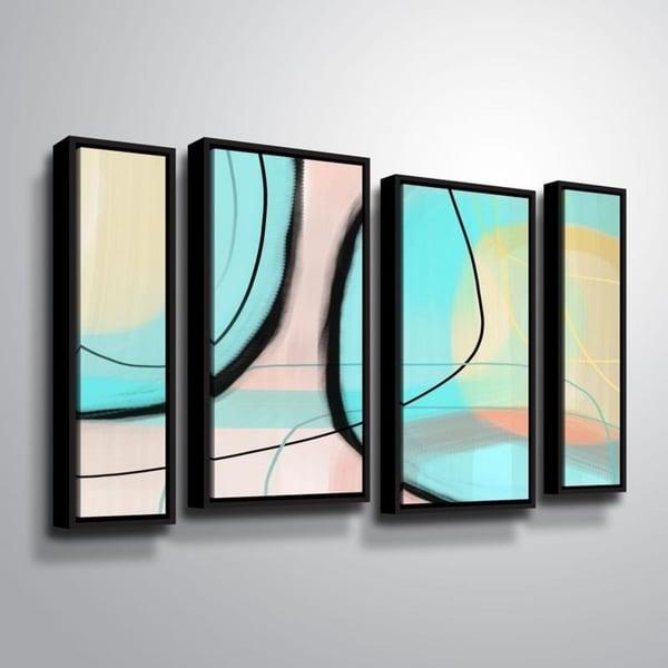 ArtWall Delores Orridge Naskrent 'Tumbled Glass' 4 Piece Floater Framed Canvas Staggered Set