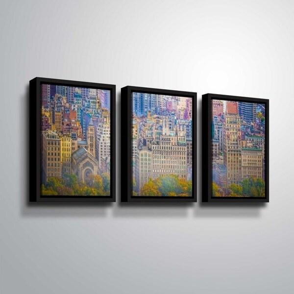 ArtWall Richard James 'UES Colorful' 3 Piece Floater Framed Canvas Set