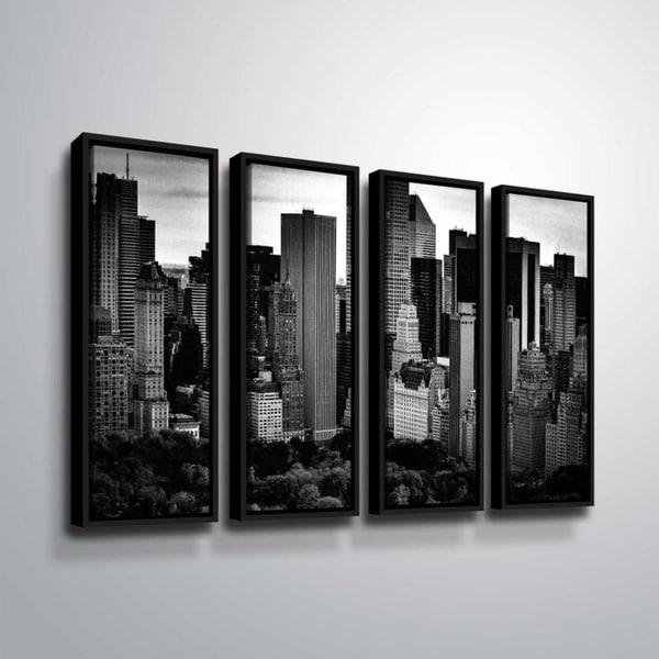 ArtWall Richard James 'Midtown B&W' 4 Piece Floater Framed Canvas Set