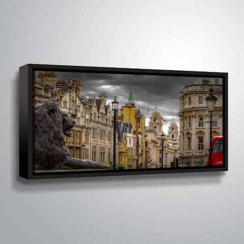ArtWall Richard James 'Landseer's Lion' Gallery Wrapped Floater-framed Canvas - Grey