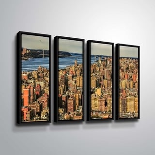 ArtWall Richard James 'UWS Hudson River' 4 Piece Floater Framed Canvas Set