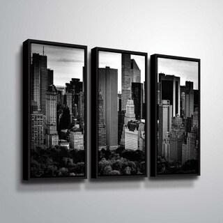 ArtWall Richard James 'Midtown B&W' 3 Piece Floater Framed Canvas Set