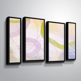 ArtWall Delores Orridge Naskrent 'Cosmopolitan Mauve' 4 Piece Floater Framed Canvas Staggered Set