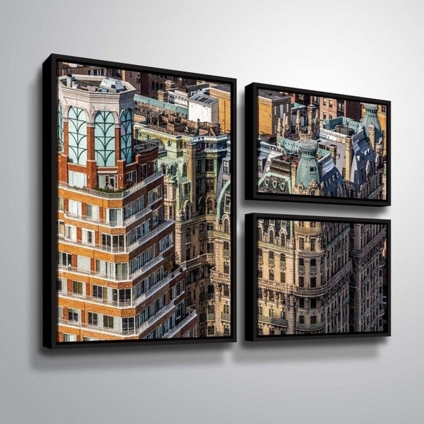 ArtWall Richard James 'Ansonia Roof' 3 Piece Floater Framed Canvas Flag Set