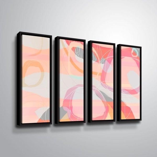 ArtWall Delores Orridge Naskrent 'Salt Water Taffy' 4 Piece Floater Framed Canvas Set