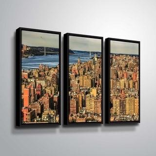 ArtWall Richard James 'UWS Hudson River' 3 Piece Floater Framed Canvas Set