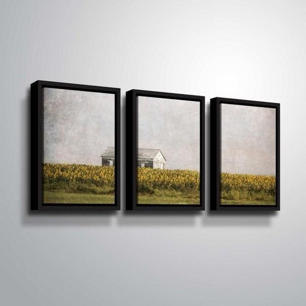 ArtWall Julie Mann Sperry 'The Sunflower Barn' 3 Piece Floater Framed Canvas Set
