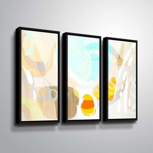 ArtWall Delores Orridge Naskrent 'Candy Corn' 3 Piece Floater Framed Canvas Set