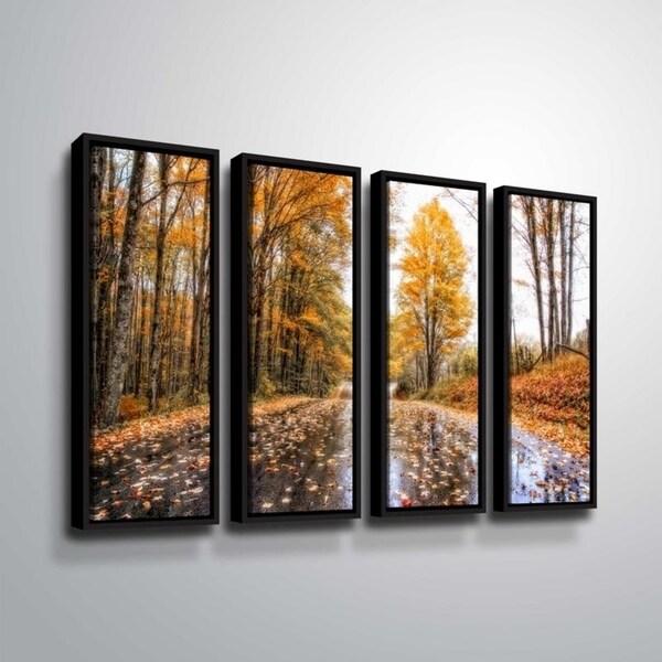 ArtWall Julie Mann Sperry 'After an autumn rain' 4 Piece Floater Framed Canvas Set