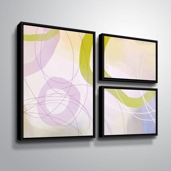 ArtWall Delores Orridge Naskrent 'Cosmopolitan Mauve' 3 Piece Floater Framed Canvas Flag Set