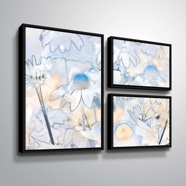 ArtWall Julie Mann Sperry 'Painting the daisies #2' 3 Piece Floater Framed Canvas Flag Set
