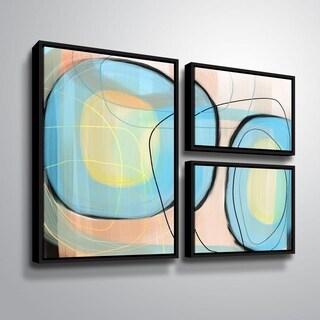 ArtWall Delores Orridge Naskrent 'Robin's Egg' 3 Piece Floater Framed Canvas Flag Set