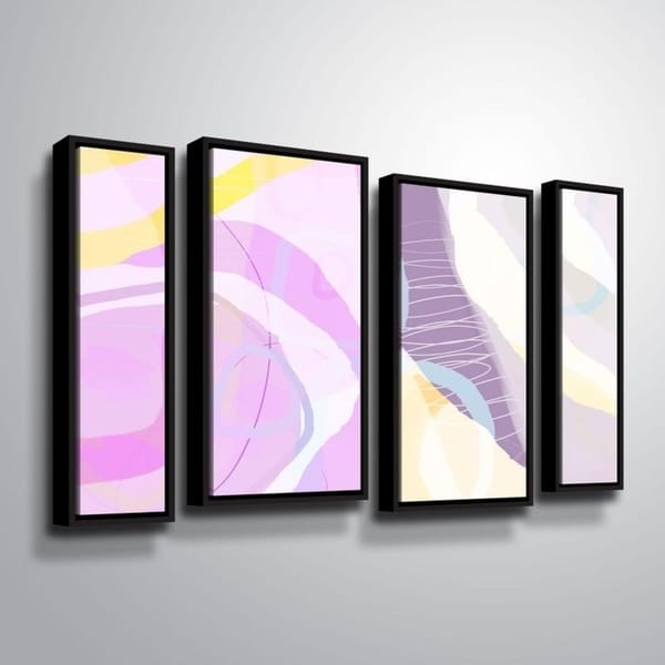 ArtWall Delores Orridge Naskrent 'Grape Crush' 4 Piece Floater Framed Canvas Staggered Set
