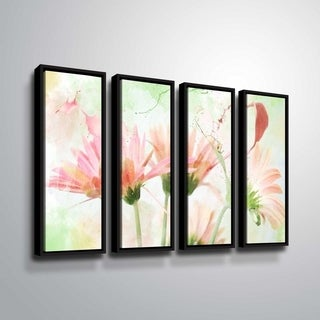 ArtWall Julie Mann Sperry 'Giving the daisies color A' 4 Piece Floater Framed Canvas Set