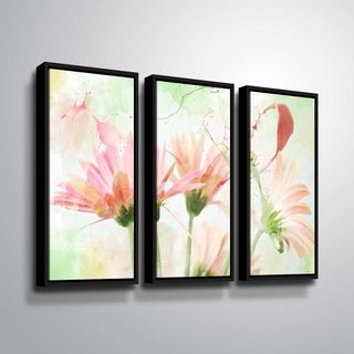 ArtWall Julie Mann Sperry 'Giving the daisies color A' 3 Piece Floater Framed Canvas Set