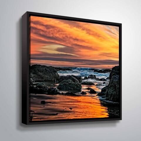 ArtWall Daniel Stein 'Rocky Ocean Coast sunset reflections' Gallery Wrapped Floater-framed Canvas
