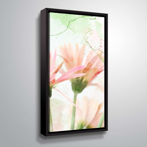 ArtWall Julie Mann Sperry 'Giving the daisies color C' Gallery Wrapped Floater-framed Canvas - Pink