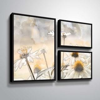 ArtWall Julie Mann Sperry 'Painting the daisies #1' 3 Piece Floater Framed Canvas Flag Set