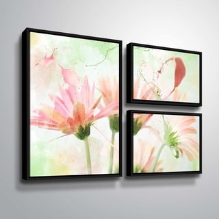 ArtWall Julie Mann Sperry 'Giving the daisies color A' 3 Piece Floater Framed Canvas Flag Set