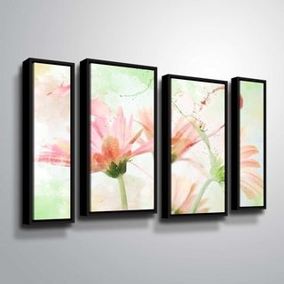 ArtWall Julie Mann Sperry 'Giving the daisies color A' 4 Piece Floater Framed Canvas Staggered Set - 24 x 36