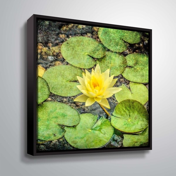 ArtWall Daniel Stein 'Yellow Lily among lily pads' Gallery Wrapped Floater-framed Canvas - Green