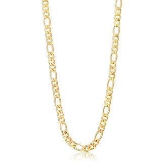 """Gold Plated Gold 10"""" Figaro Link Chain Necklace"""
