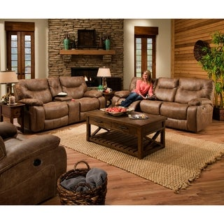 Simmons Upholstery Topgun Saddle Double Motion Console Loveseat